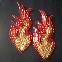 SEQUIN BEADED APPLIQUE: FIRE! [pair-small]
