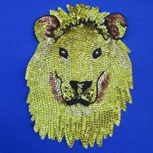 SEQUIN BEADED APPLIQUE: Lion of Judah [large lion head]