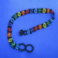 Anklet: Flowers - All beads RAINBOW