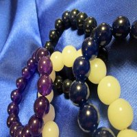 100% JADE: Beaded Bracelet; navy, purple, white