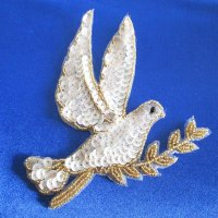 SEQUIN BEADED APPLIQUE: Dove with Olive Branch