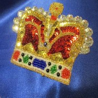 SEQUIN BEADED APPLIQUE: Colorful Crown [large]