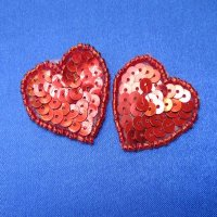 SEQUIN BEADED APPLIQUE: Red Hearts (set of 2)