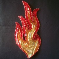 SEQUIN BEADED APPLIQUE: FIRE! [single flame]