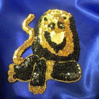 SEQUIN RHINESTONE APPLIQUE: Majestic Lion [Black]
