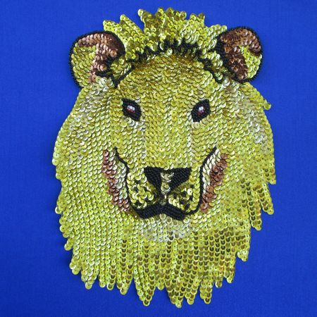 Lion of Judah (large lion head) - Sequin Beaded Applique