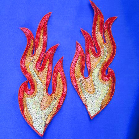 FIRE! [large pair] - Sequin Beaded Applique